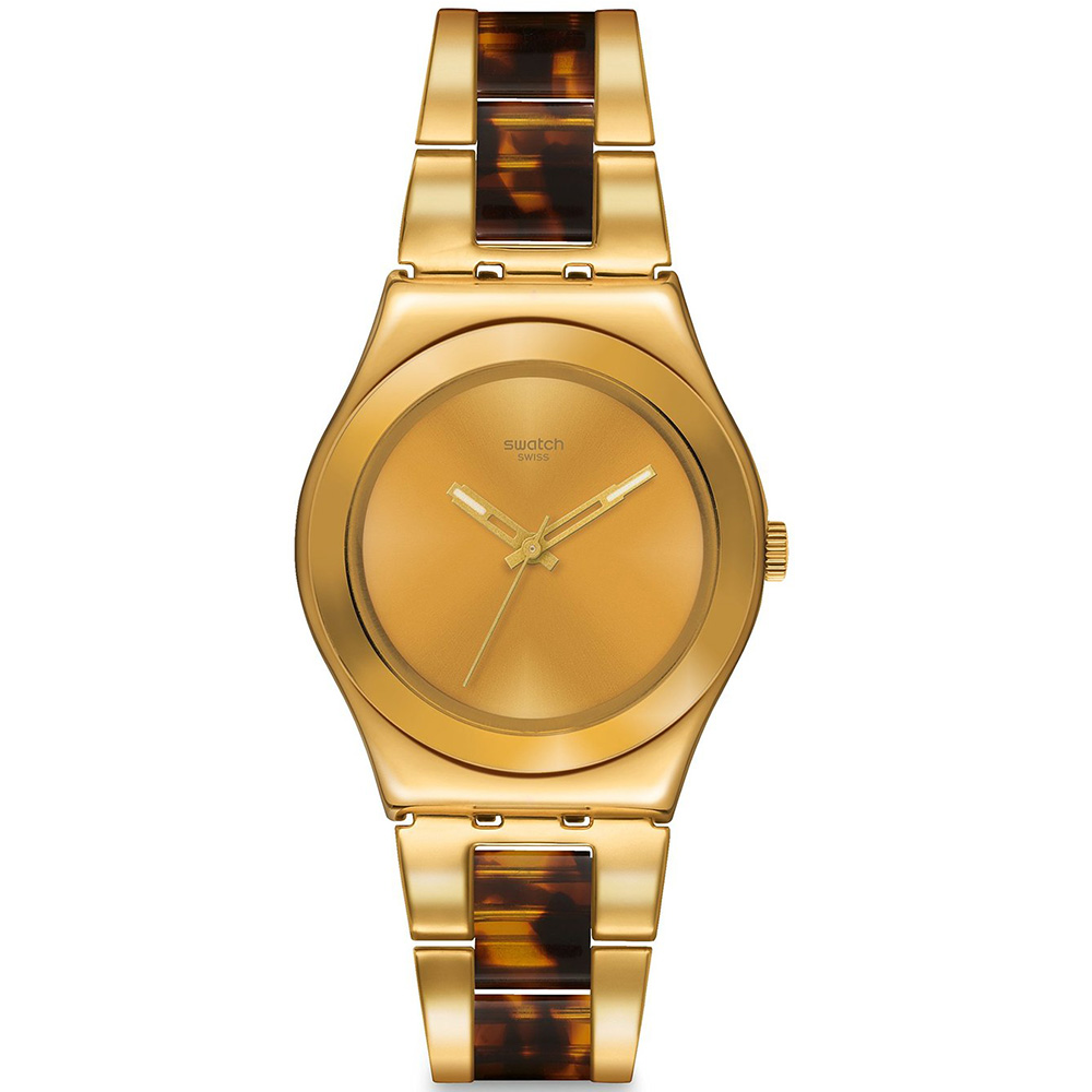 YLG127G Swatch Womens London Smoke Two-tone tortoise Gold tone Band Gold tone Dial