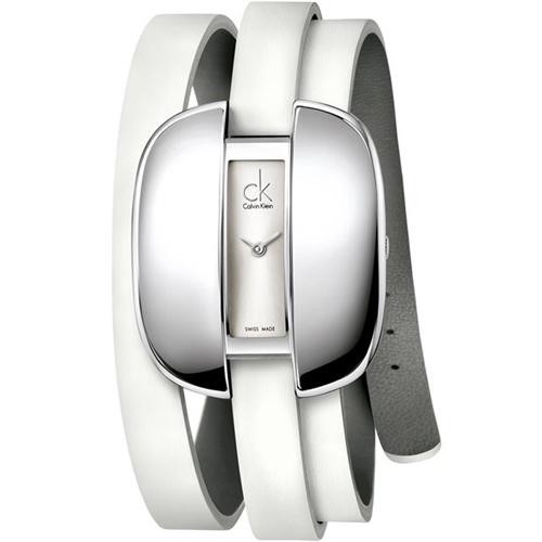 K2E23120 Calvin Klein Womens Treasure White Band Silver Dial