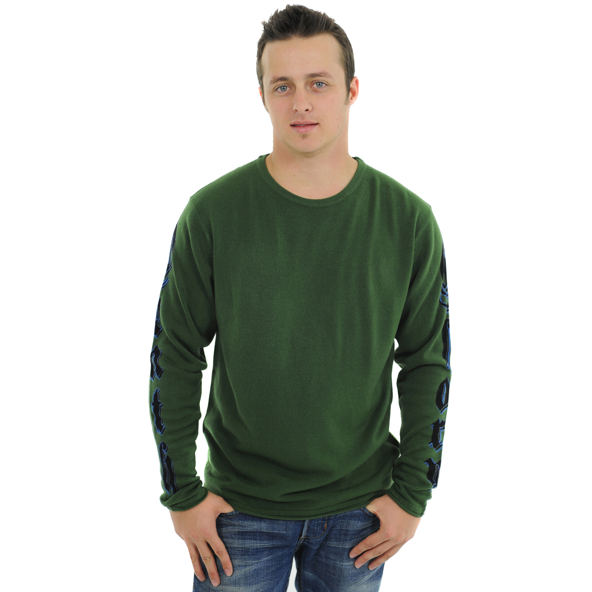 RAW 7 G09H03-GRN-PANTHER RAW7 Men's 100% Acrylic Crewneck Sweater Panther Design - Green