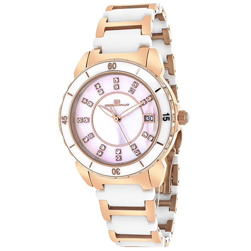OC2413 Oceanaut Swiss Charm White Rose Gold Pink Mother of Pearl Ceramic