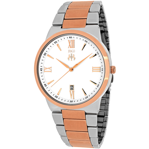 JV3514 Jivago Mens Clarity Two-tone silver rose gold Band Silver Dial
