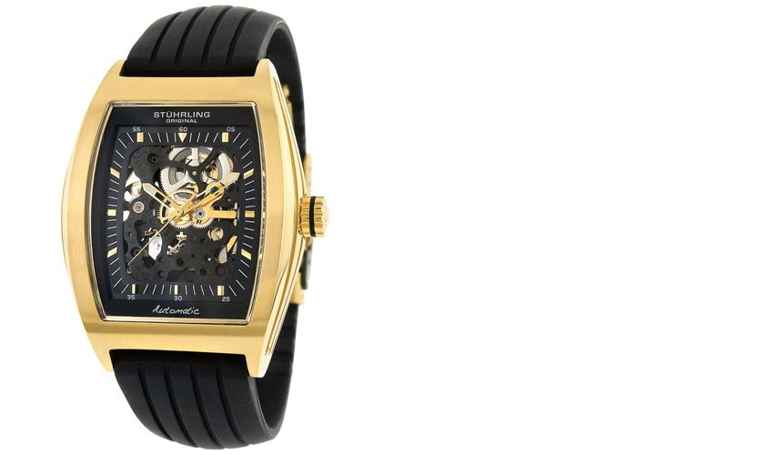 182.33361 Stuhrling Original Men Special Reserve Millenia Skeleton Automatic Watch - GOLD Layered