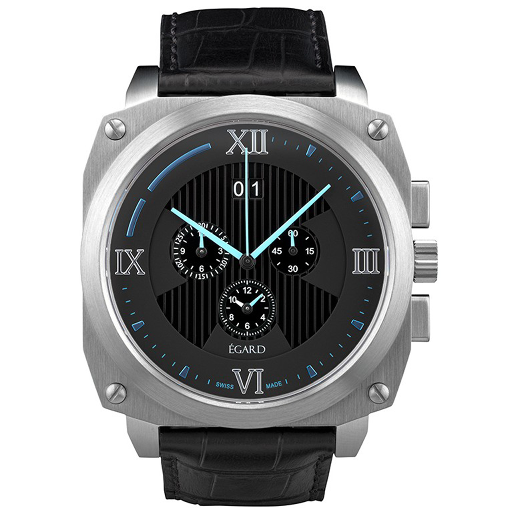 Egard GRD-CRO-LUE Egard Chronobeast Alarm Limited Edition 50 PCS Swiss Made Stainless Black