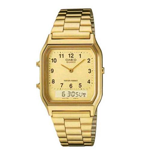 AQ-230GA-9B Casio Mens Classic Quartz Gold Band Digital Dial