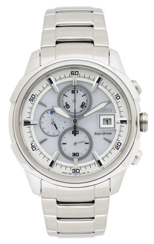 CA0370-54A Citizen Mens Eco-Drive  Quartz Silver Band Silver Dial