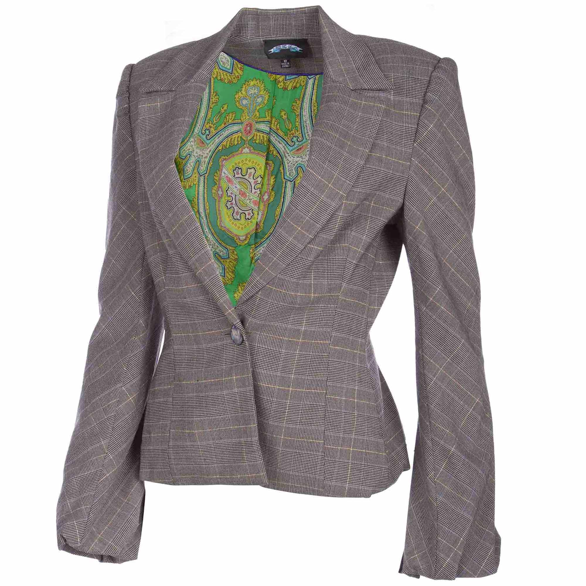 Till The End TTE-2023 Till The End Women's Grey Plaid Blazer