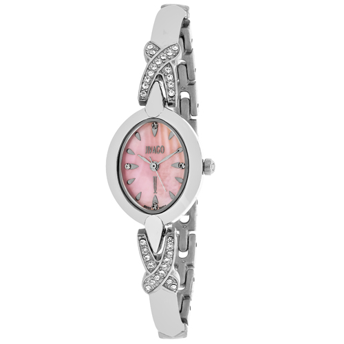 JV3612 Jivago Womens Via Quartz Silver Band MOP Pink Dial