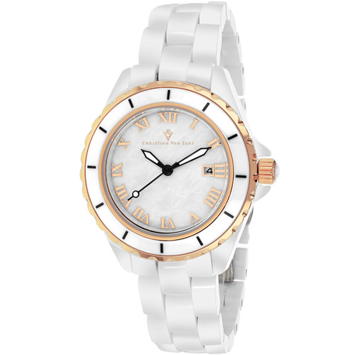 CV9412 Christian Van Sant Womens Palace Quartz White Band White MOP Dial