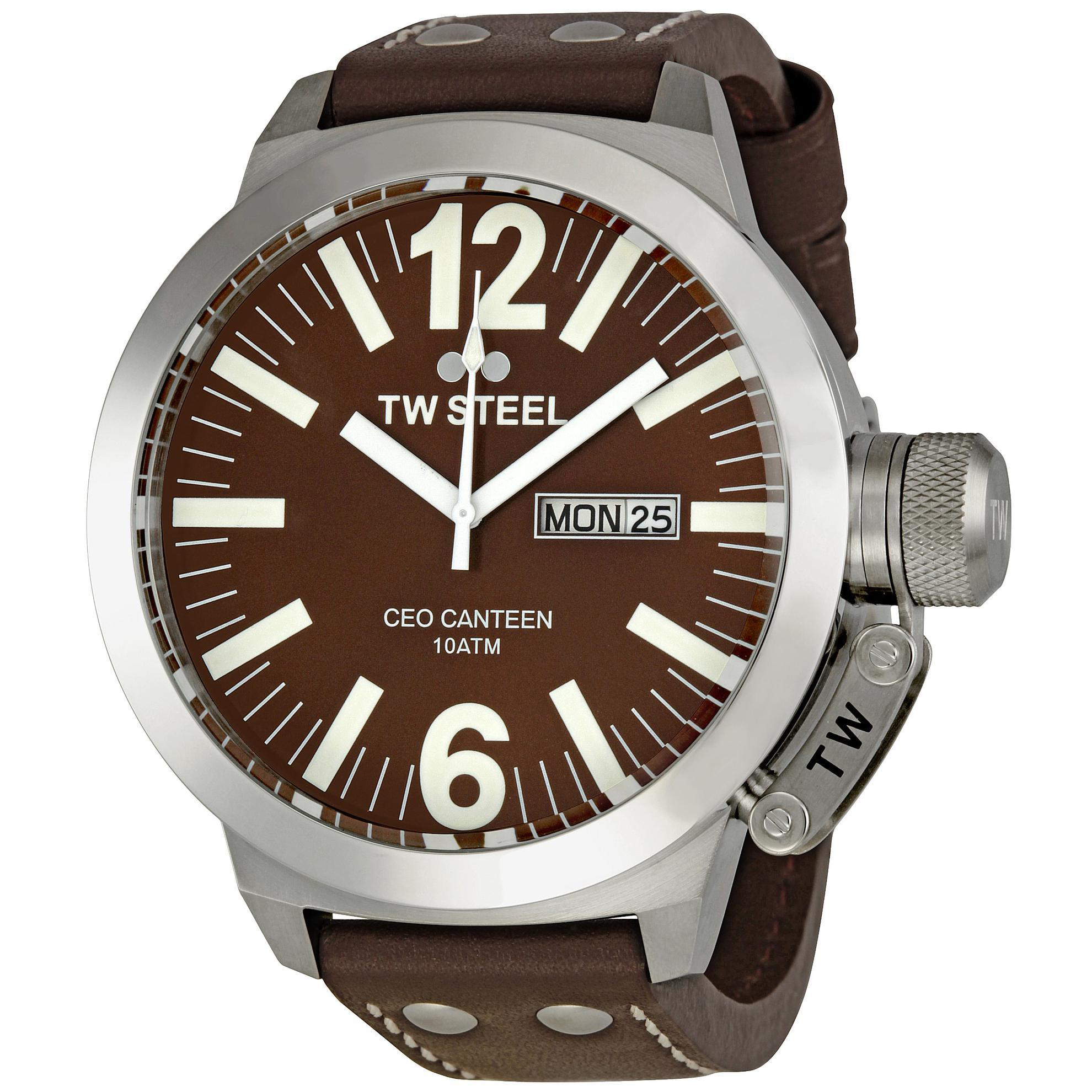 CE1010 TW Steel CEO Canteen Stainless Steel Brown Dial Leather Strap