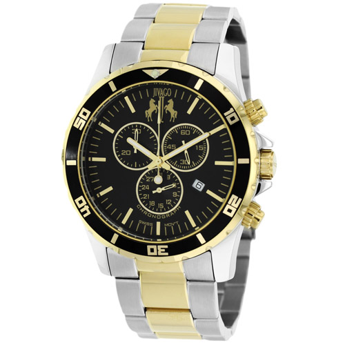 JV6129 Jivago Mens Ultimate Two-tone Silver Gold Band Black Dial