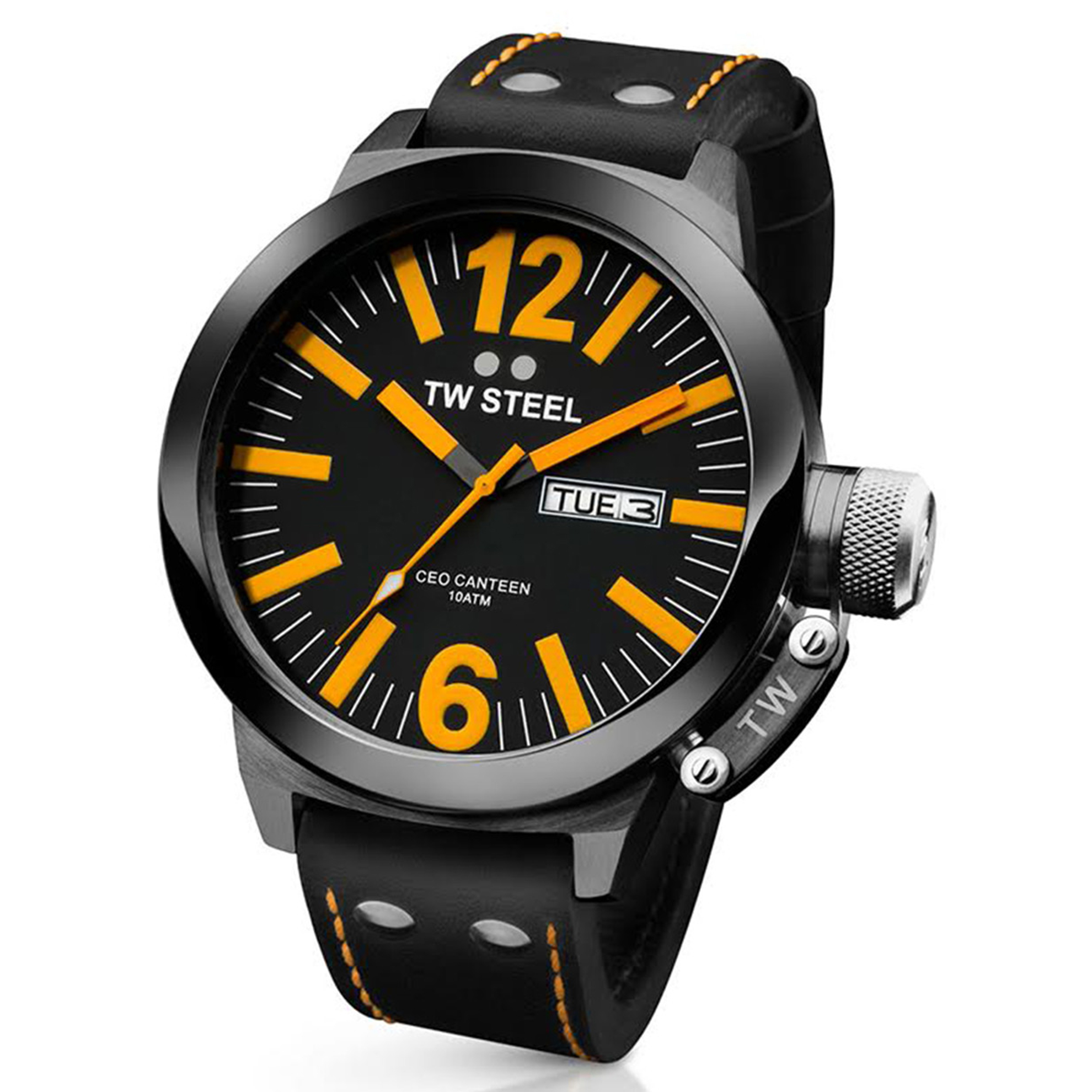 TW Steel CE1028 TW Steel CEO Canteen Black PVD Orange Markers Leather Strap