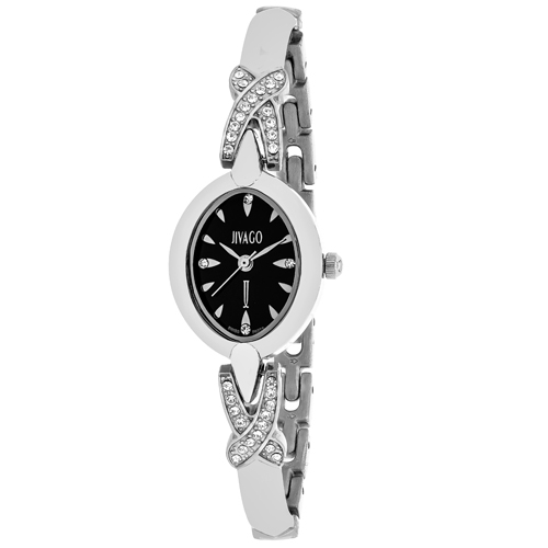 JV3610 Jivago Womens Via Silver Band Black Dial