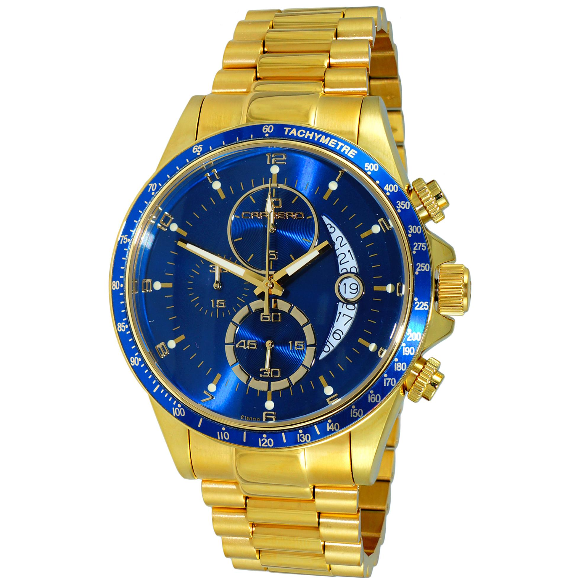 Carrero C1G111BU Carrero Catania R1 Limited Edition Swiss Chronograph All Gold Blue Dial