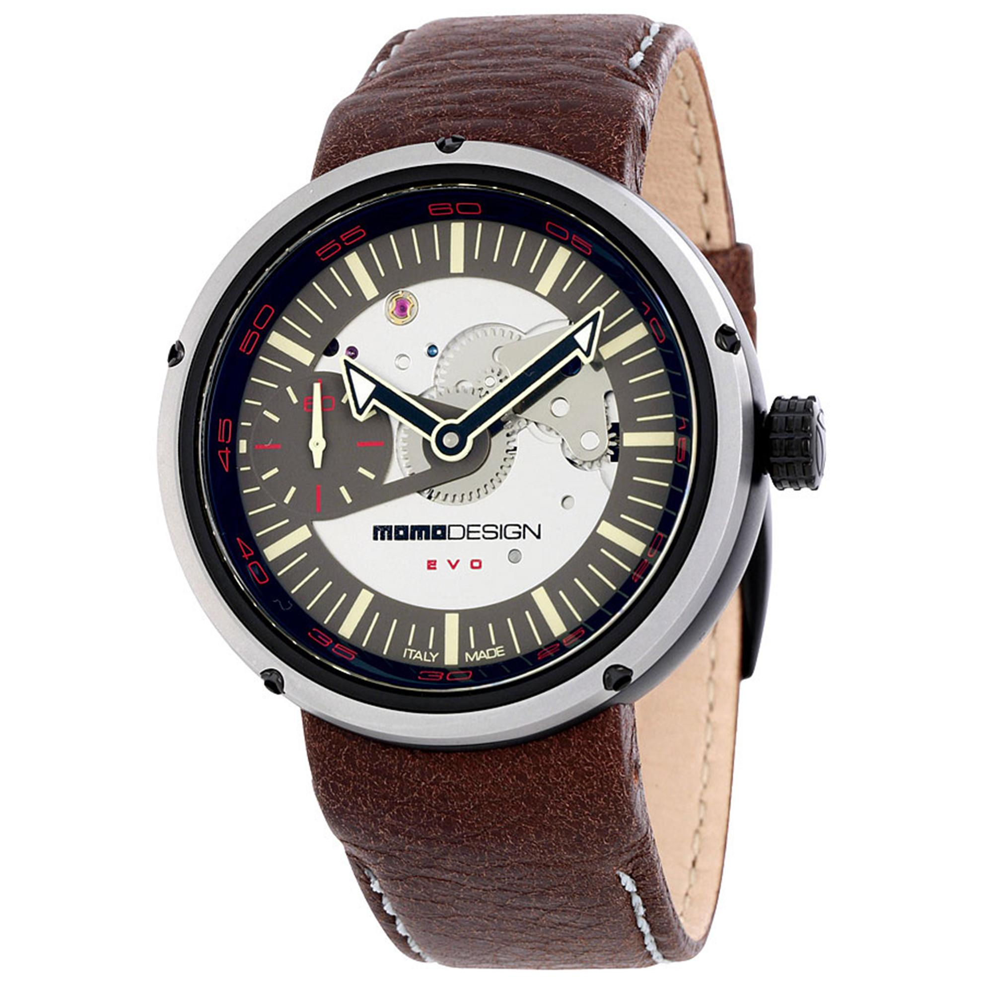 MOMO Design 1010BS-42 MOMO Design Limited Edition Evo Mechanical Automatic Tan Dial Brown Leather Strap