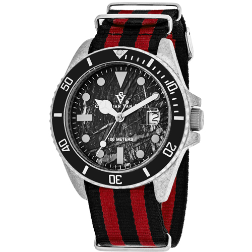 CV5100NRB Christian Van Sant Mens Montego Vintage Quartz Black and red  Band Black Dial