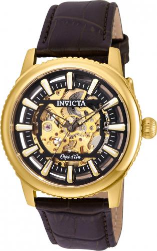 22611 Invicta Mens Objet D Art  Brown Band Black Dial