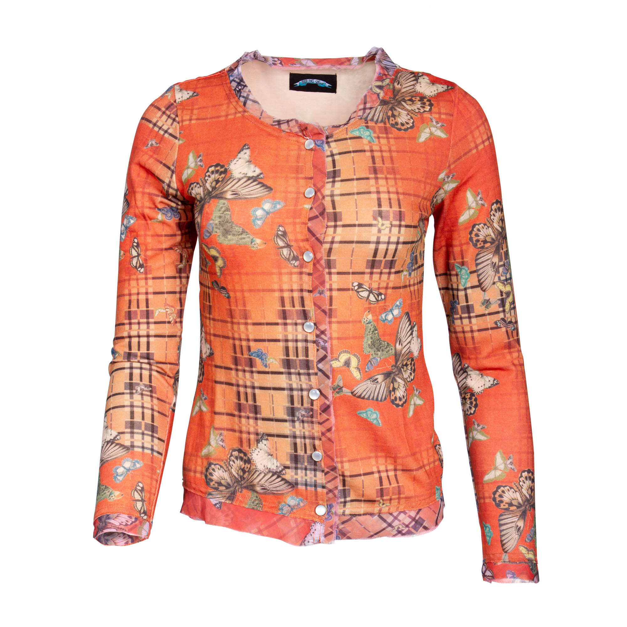 Till The End T09H06-3 Till The End Long Sleeve Button Down Top - Butterfly Orange