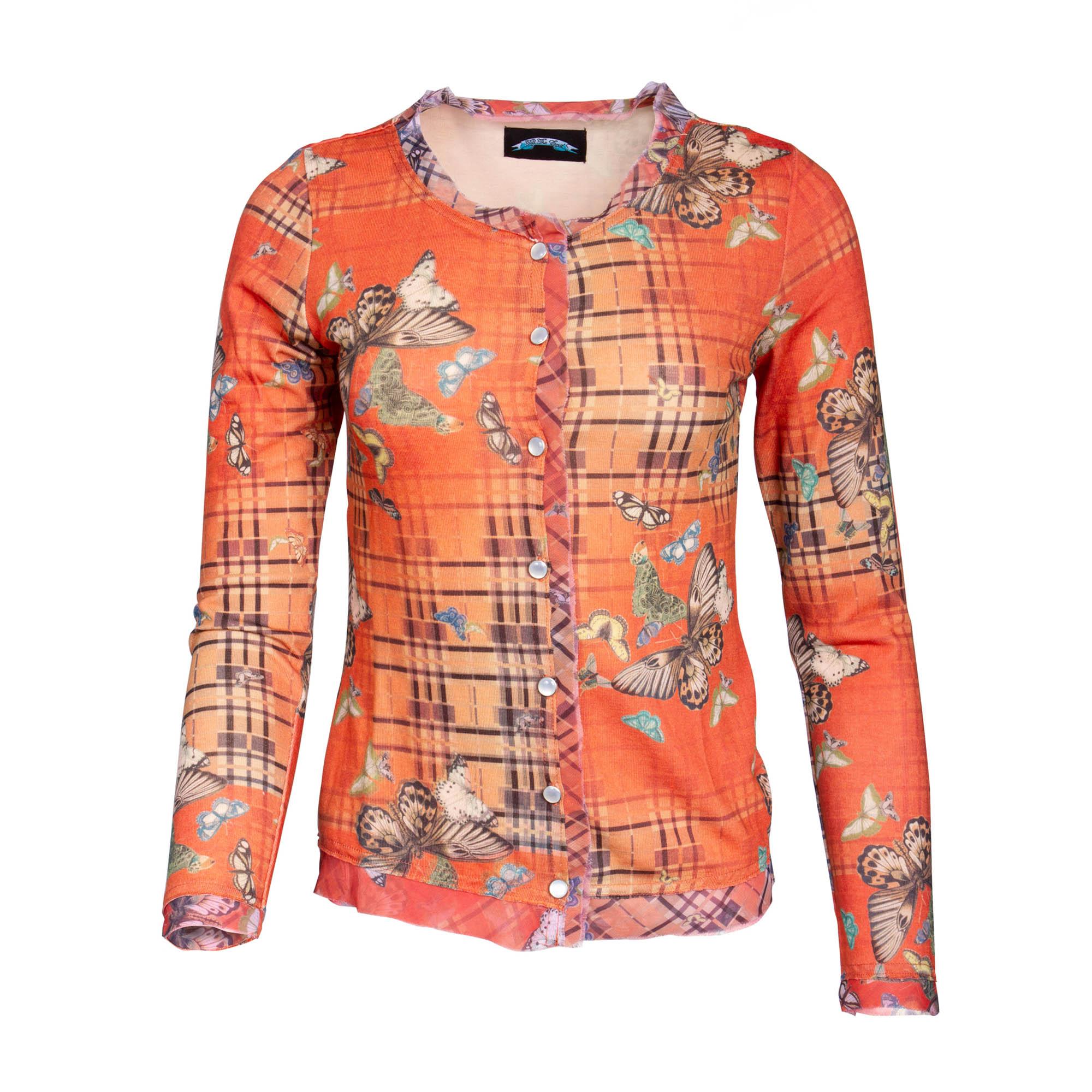 Till The End T09H06-3 Till The End Women's Orange Long Sleeve Button Down Top - Butterfly Design