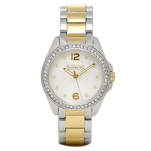 14501659 Coach Womens Tristen Two-tone silver gold tone Band White MOP Dial