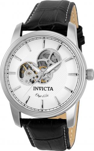 22616 Invicta Mens Objet D Art  Black Band Silver Dial