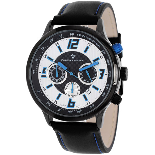 CV3121 Christian Van Sant Mens Speedway Quartz  Black Band Silver/Blue Dial