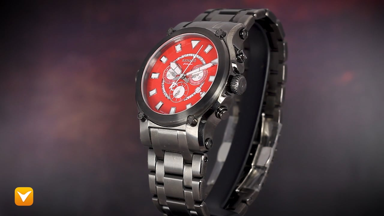 Renato 50CG-R-50CG-5040D Renato Robusto 50 Swiss Chronograph Gunmetal Red Dial
