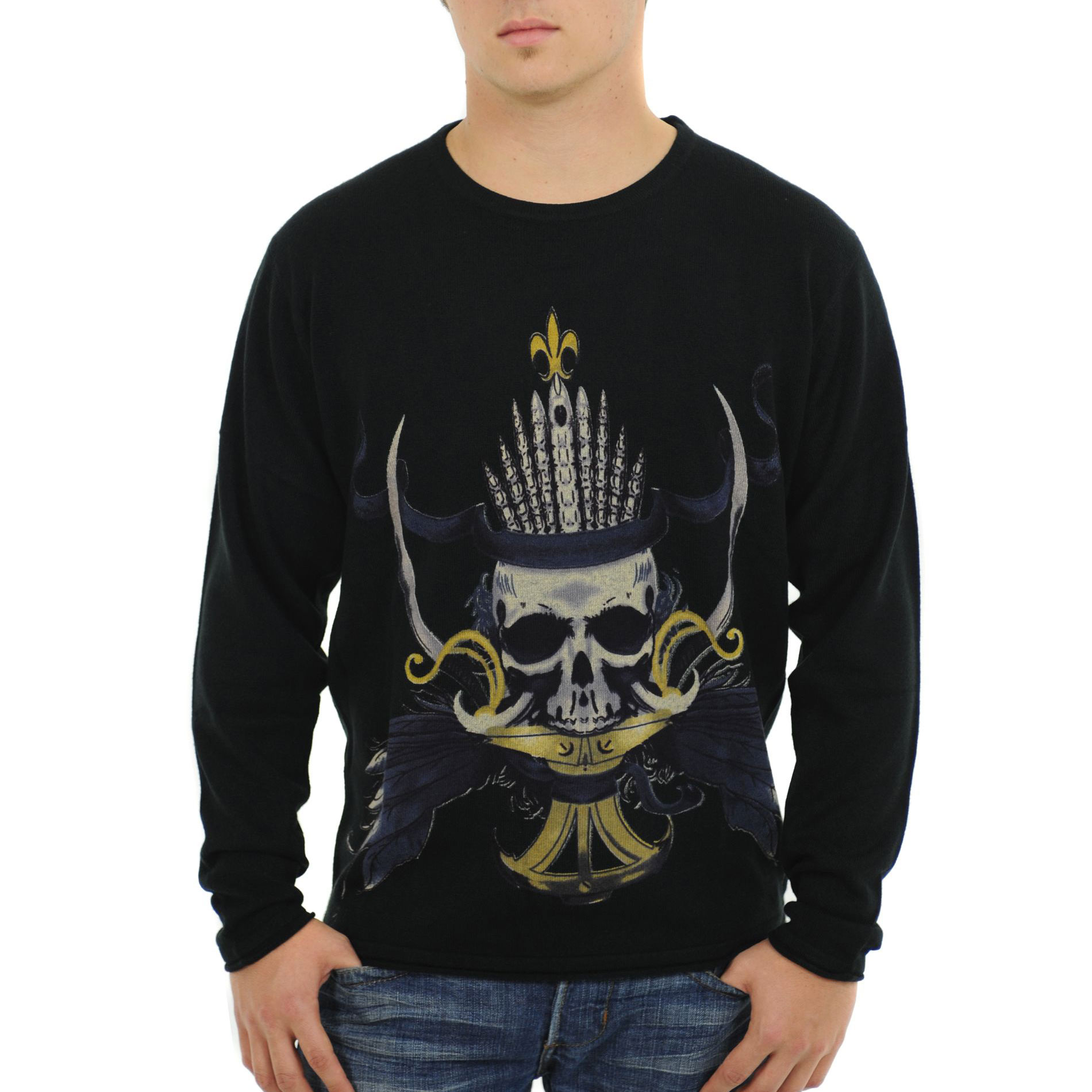 RAW 7 G09H03-CAPTAIN Raw 7 Men's Crewneck Sweater Fleur-de-lis Pirate Captain Design - Black