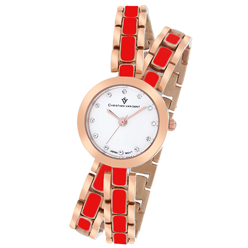 CV5614 Christian Van Sant Womens Spiral Quartz Two-tone Rose gold Red Band White Dial