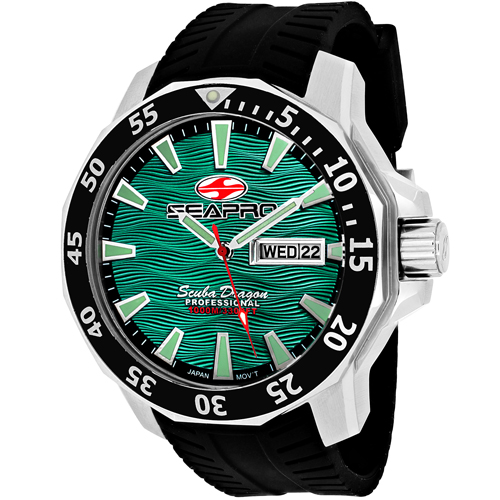 SP8318 Seapro Mens Scuba Dragon Diver Limited Edition 1000 Meters Black Band Green Dial