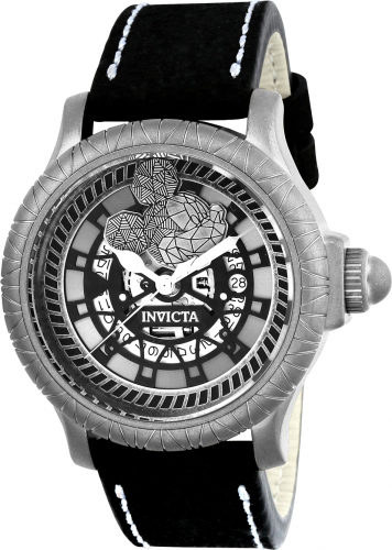 22739 Invicta Mens Disney Limited Edition Swiss Movement Black Band Silver Dial