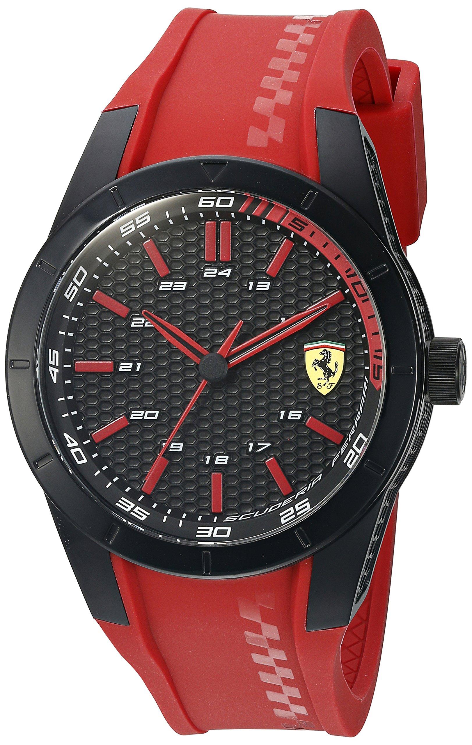 Ferrari 0830299 Ferrari Red Rev Black and Red Textured Dial Red Rubber Strap