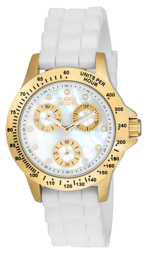 21985 Invicta Womens Speedway  White Band White Dial
