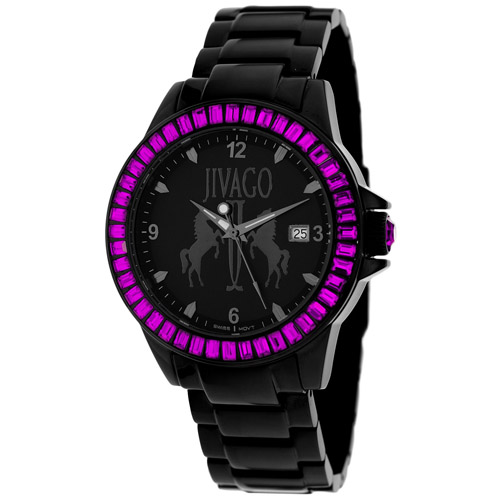 JV4212 Jivago Womens Folie Black Band Black Dial