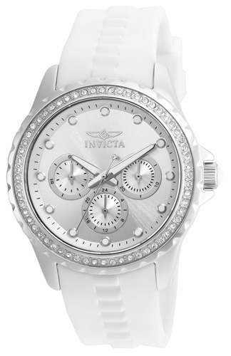21899 Invicta Womens Angel  White Band Silver Dial