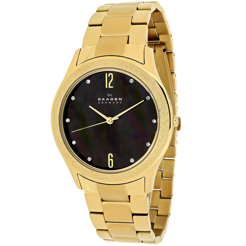 SKW2108 Skagen Womens Classic Gold Band Brown MOP Dial