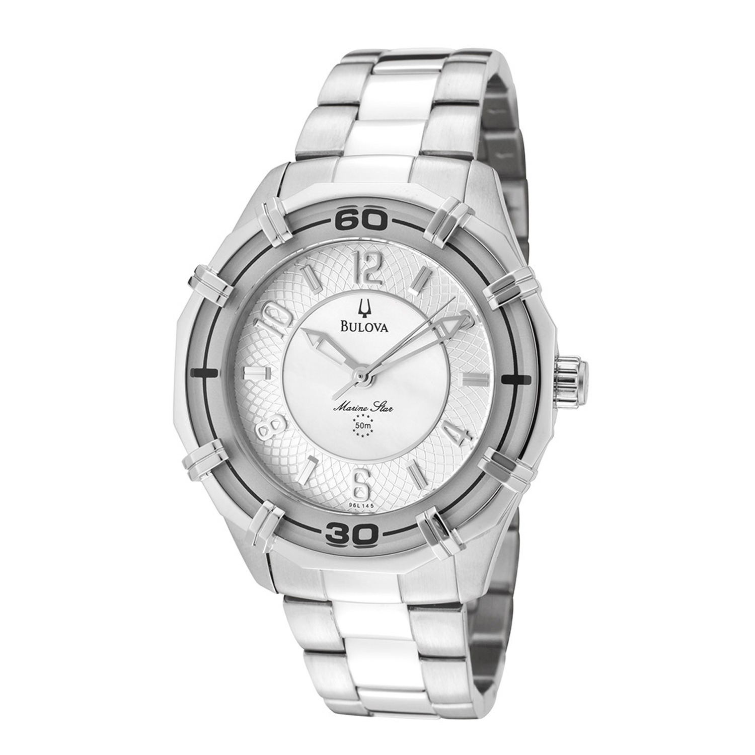 Bulova 96L145 Bulova Ladies Marine Star Stainless Steel White Mother of Pearl