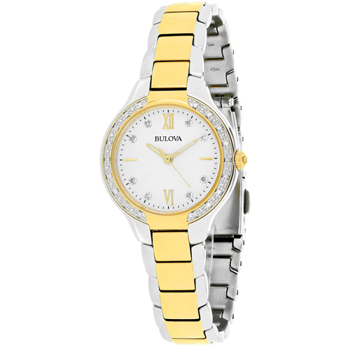 98W221 Bulova Ladies Two-Tone Crystal Bezel Silver Dial