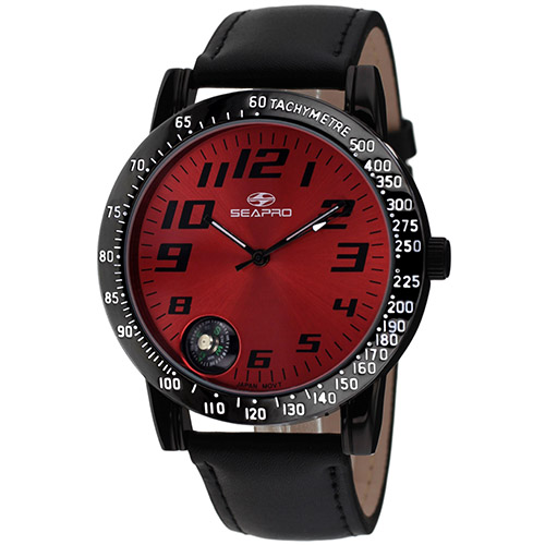 SP5111 Seapro  Mens Raceway Black Band Red Dial