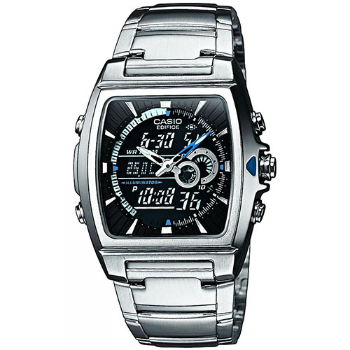 EFA-120D-1A Casio Mens Ana-digi Silver Band Green Dial