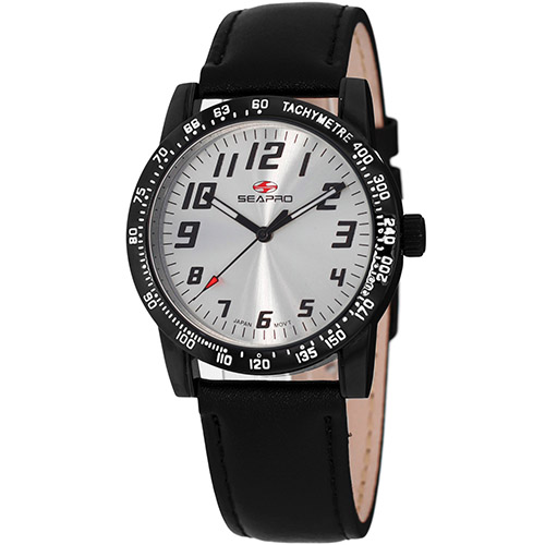 SP5212 Seapro  Womens Bold Black Band Silver Dial