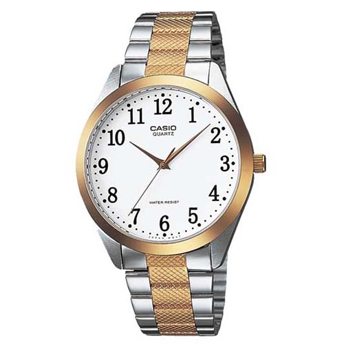 MTP-1274SG-7B Casio Mens Classic Two-tone silver gold Band White Dial