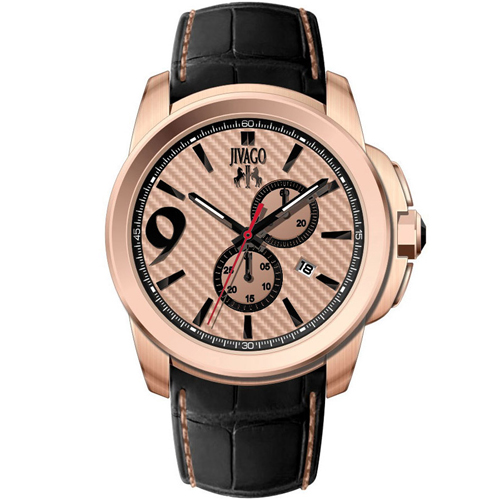 JV1515 Jivago Mens Gliese Black Band Rose gold Dial