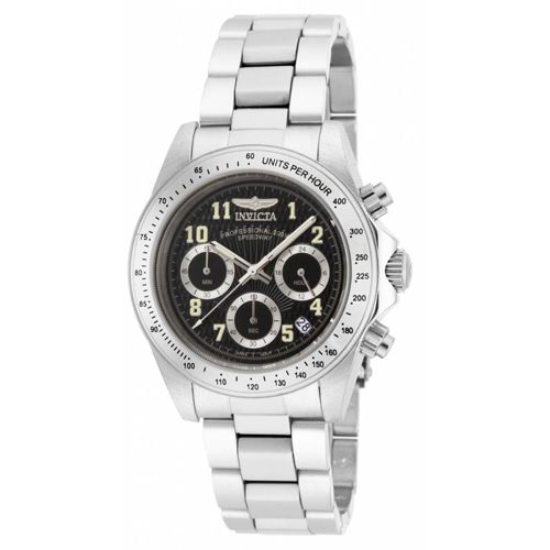 17025 Invicta Mens Speedway  Steel Band Black Dial