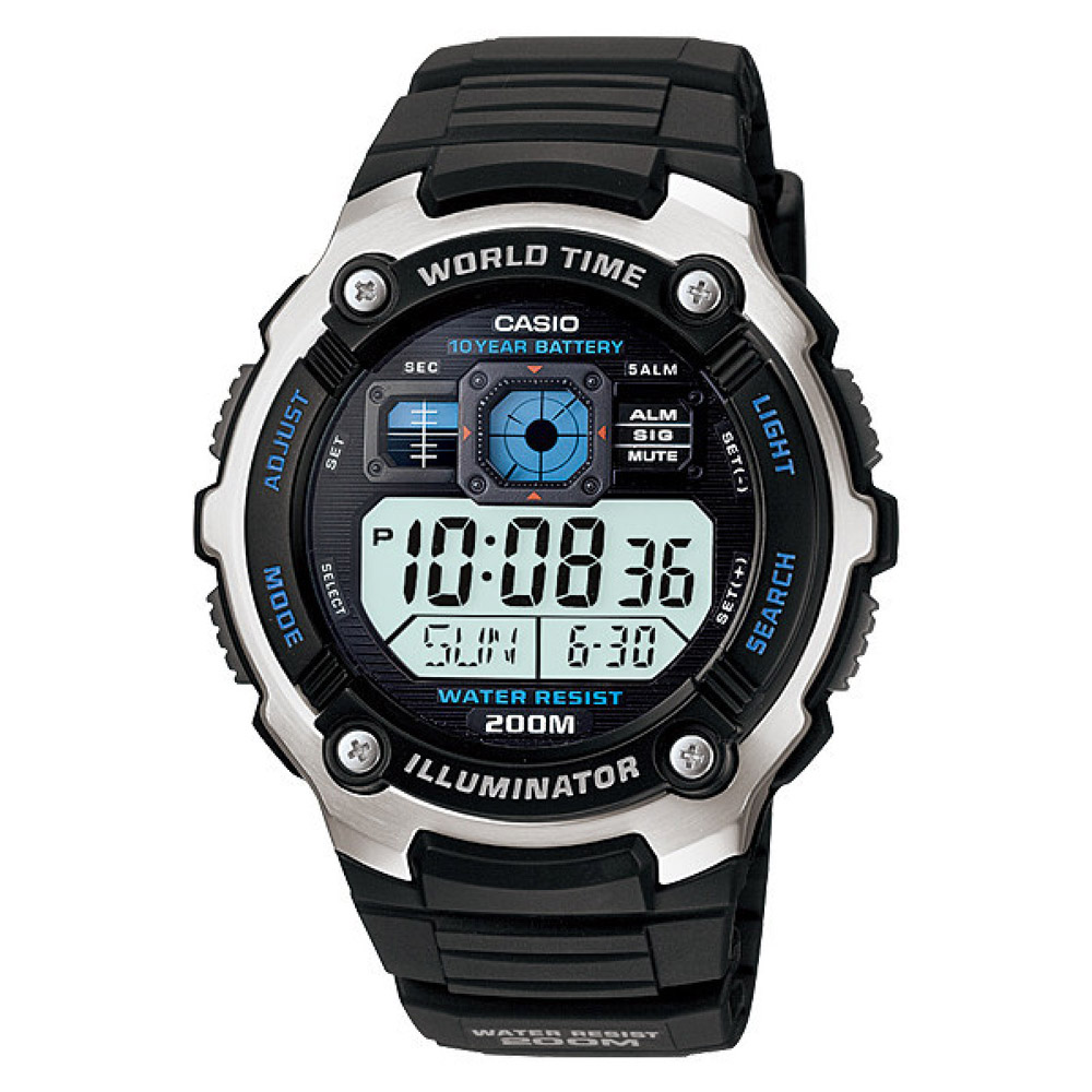 AE-2000W-1AV Casio Mens Digital Quartz Black Band Digital Dial