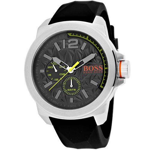 1513347 Hugo Boss Multi Function Texterued Grey Dial Black Rubber