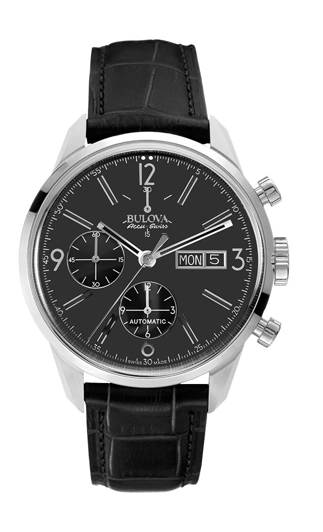 Bulova AccuSwiss 63C115 Bulova AccuSwiss Swiss Automatic Chronograph Black Dial Black Leather Strap