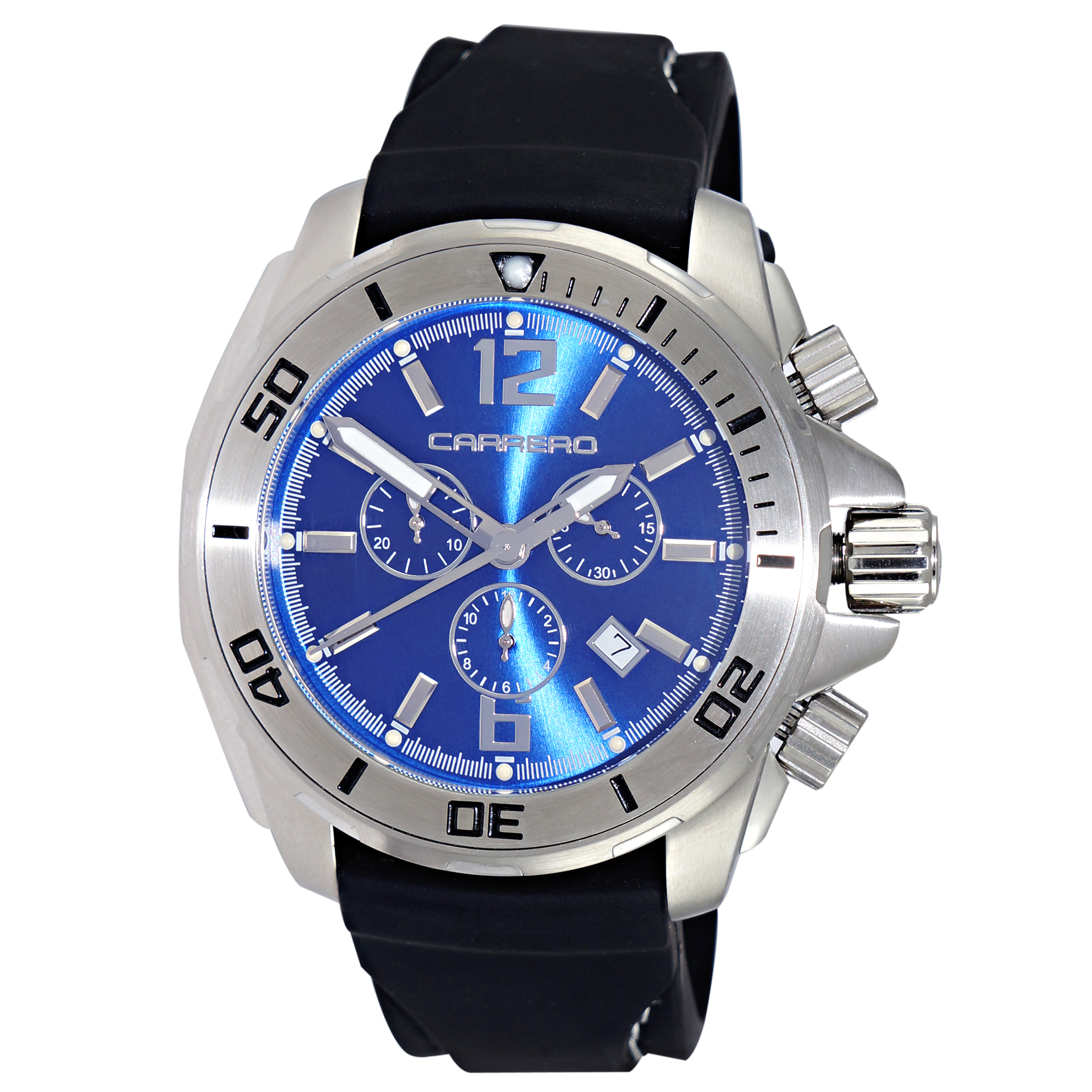 Carrero 9EH191C03-STRAP Carrero Cuda Limited Edition Diver Blue Dial Black Strap