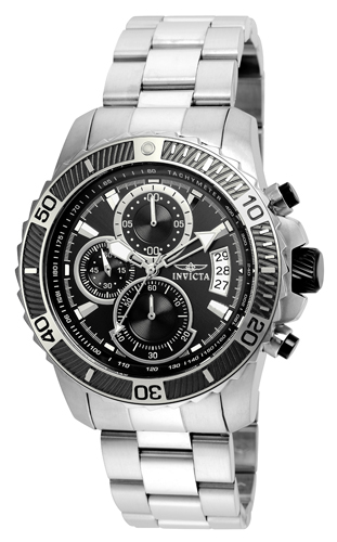 22412 Invicta Mens Pro Diver  Steel Band Black Dial