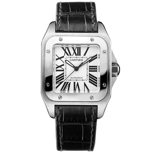 W20106X8 Cartier Womens Santos W20106X8 Swiss automatic Black Band Silver Dial