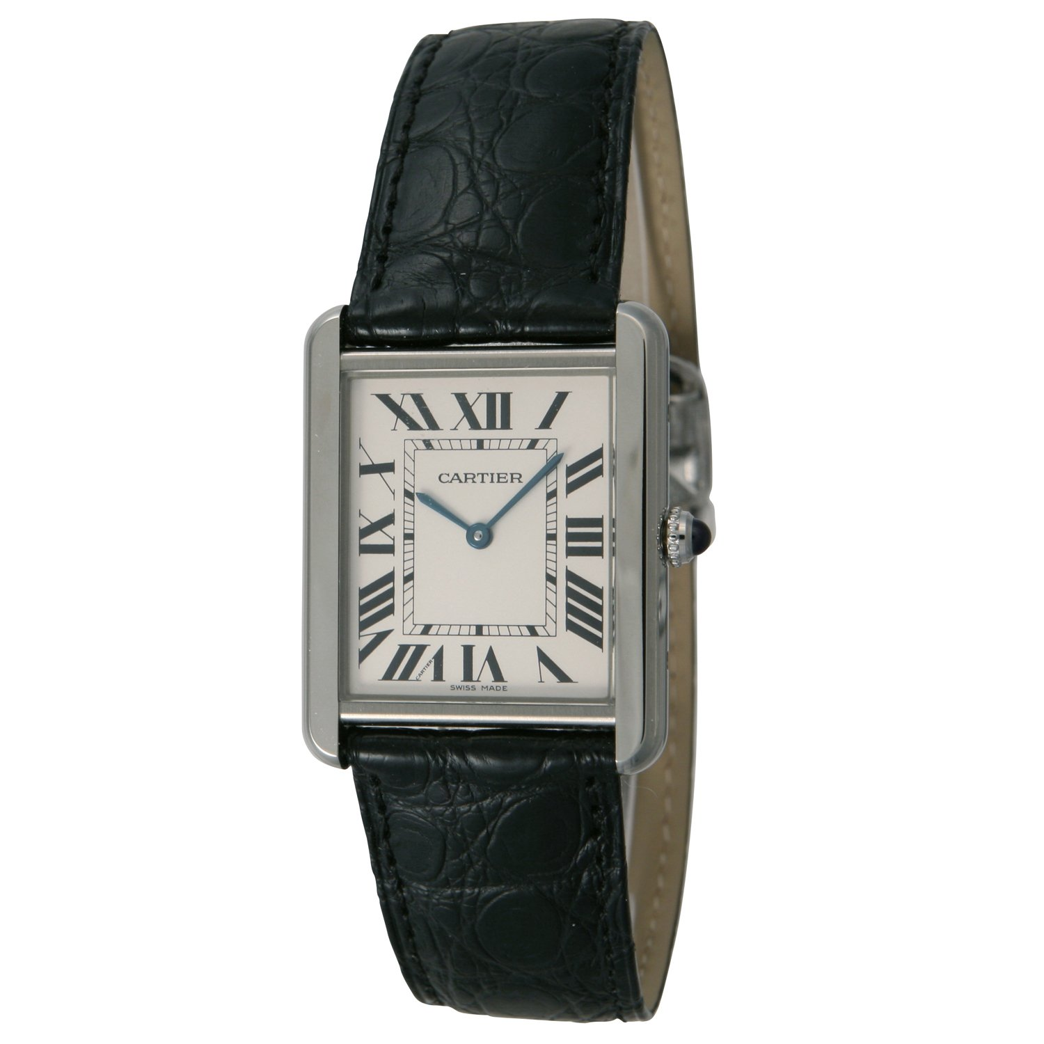 Cartier B00385XAHY B00385XAHY To US $2299, UK £2249 Cartier Men's Tank Solo Black Leather Band Steel Case Quartz Silver-Tone Dial Analog Watch W5200003